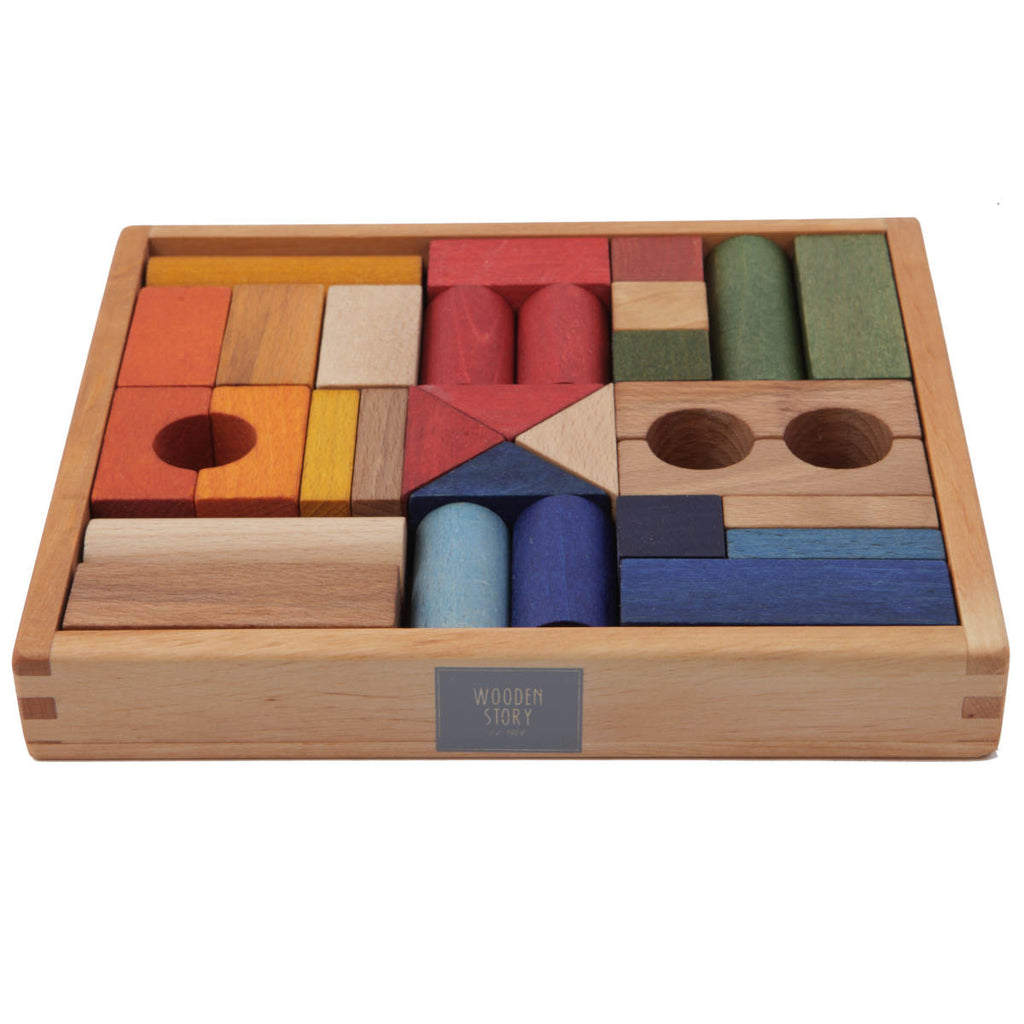 Wooden Story Rainbow Wooden Blocks in Tray