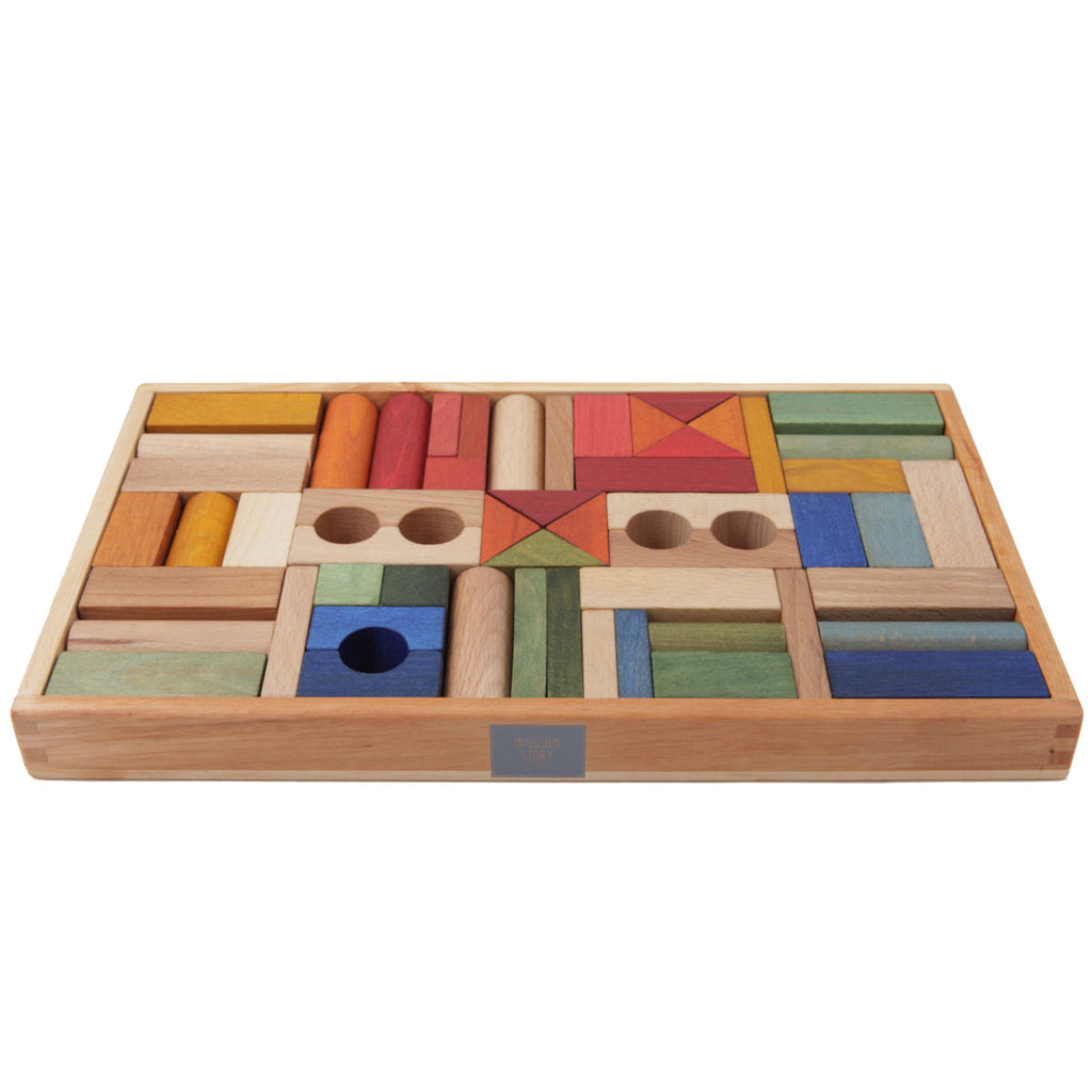 Wooden Story Rainbow Wooden Blocks in Tray, 54pcs