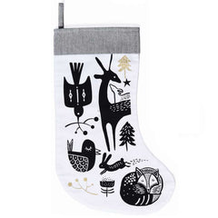 Wee Gallery Winter Animals Stocking, Black on White