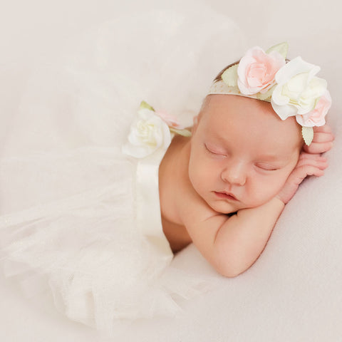 Ivory Newborn Baby Girl Tutu 3pcs Set