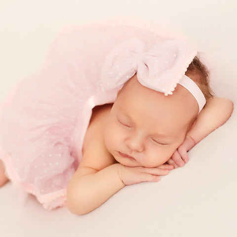 Pink Pompom Newborn Baby Girl Tutu with Headband