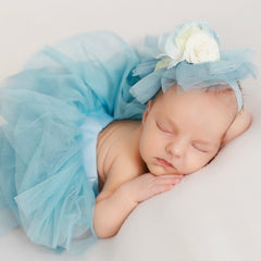 Blue Newborn Baby Girl Tutu 3pcs Set