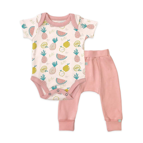 bodysuit and pants set | tropical fruit