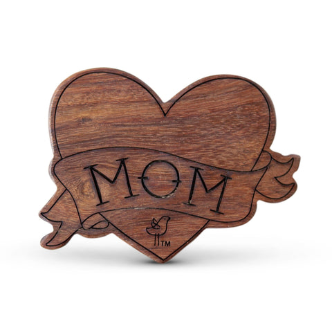 wood rattle teether [heart]