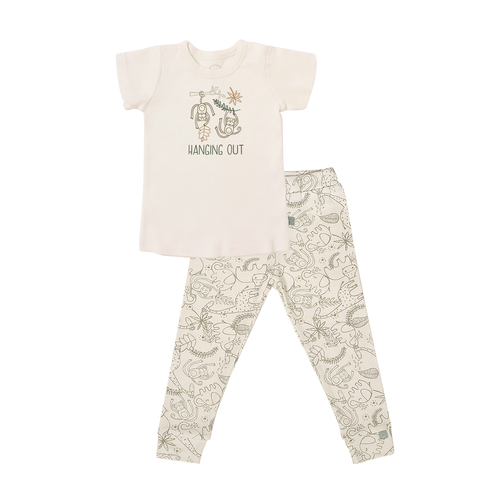 Baby short sleeve pajama set | hanging out jungle finn + emma