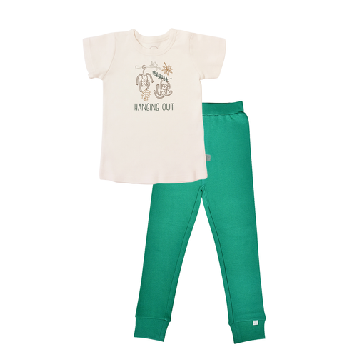 Baby short sleeve pajama set | hanging out emerald finn + emma