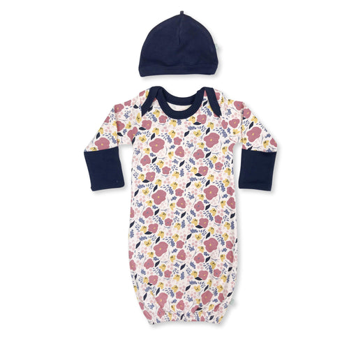 gown & hat | navy floral