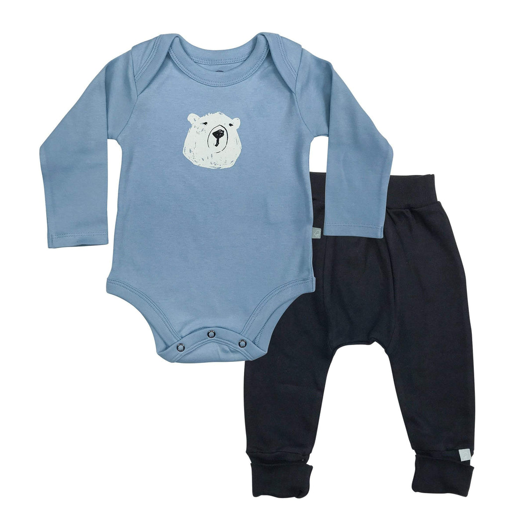 Baby long sleeve bodysuit and pant set | polar bear finn + emma