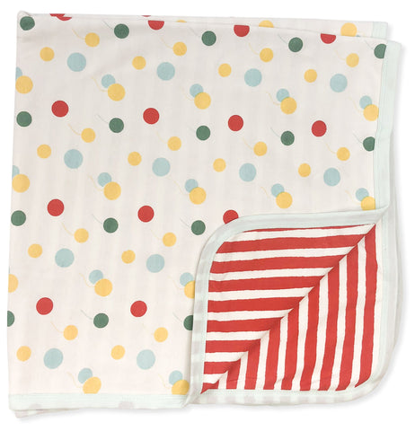 reversible blanket [balloons & red and white stripe]