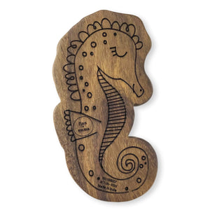 Baby wood rattle teether [seahorse] Finn + Emma