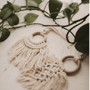 Baby all-in-one toy | macrame feather finn + emma