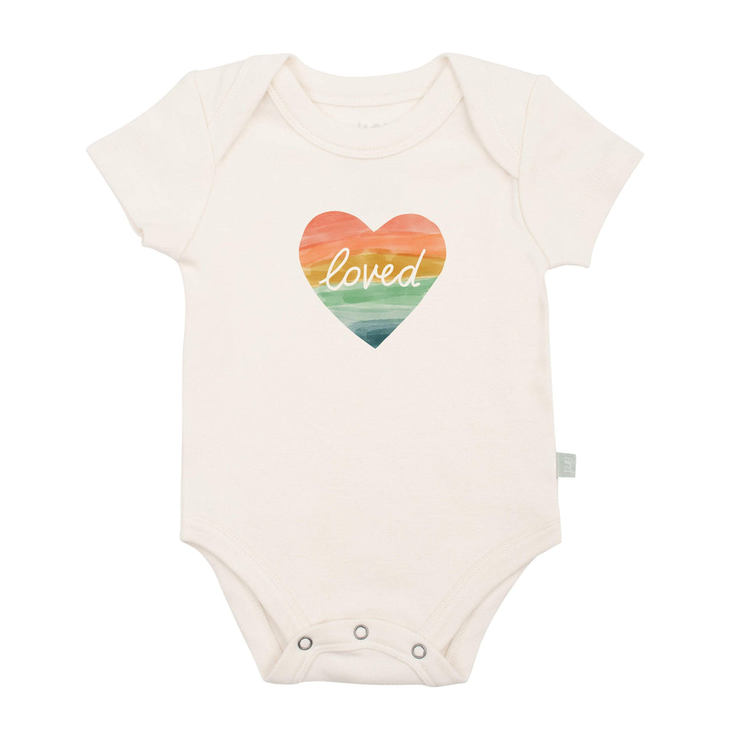 Baby graphic bodysuit | loved rainbow heart finn + emma