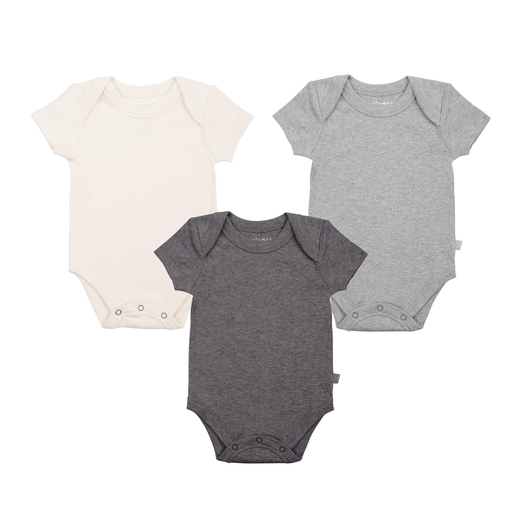 3 pc. lap bodysuit set  | charcoal / ivory / heather