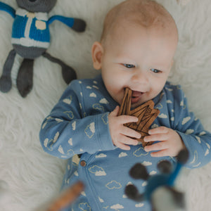 wood rattle teether [crane]