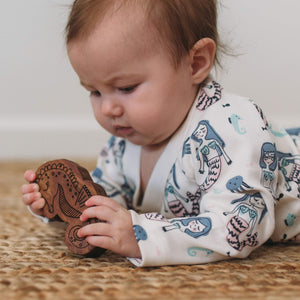 wood rattle teether [seahorse]