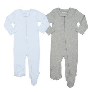 Baby 2 pc. zipper footie set | light blue & heather grey finn + emma