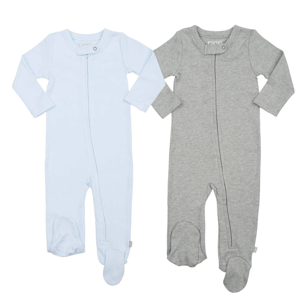 2 pc. zipper footie set | light blue & heather grey