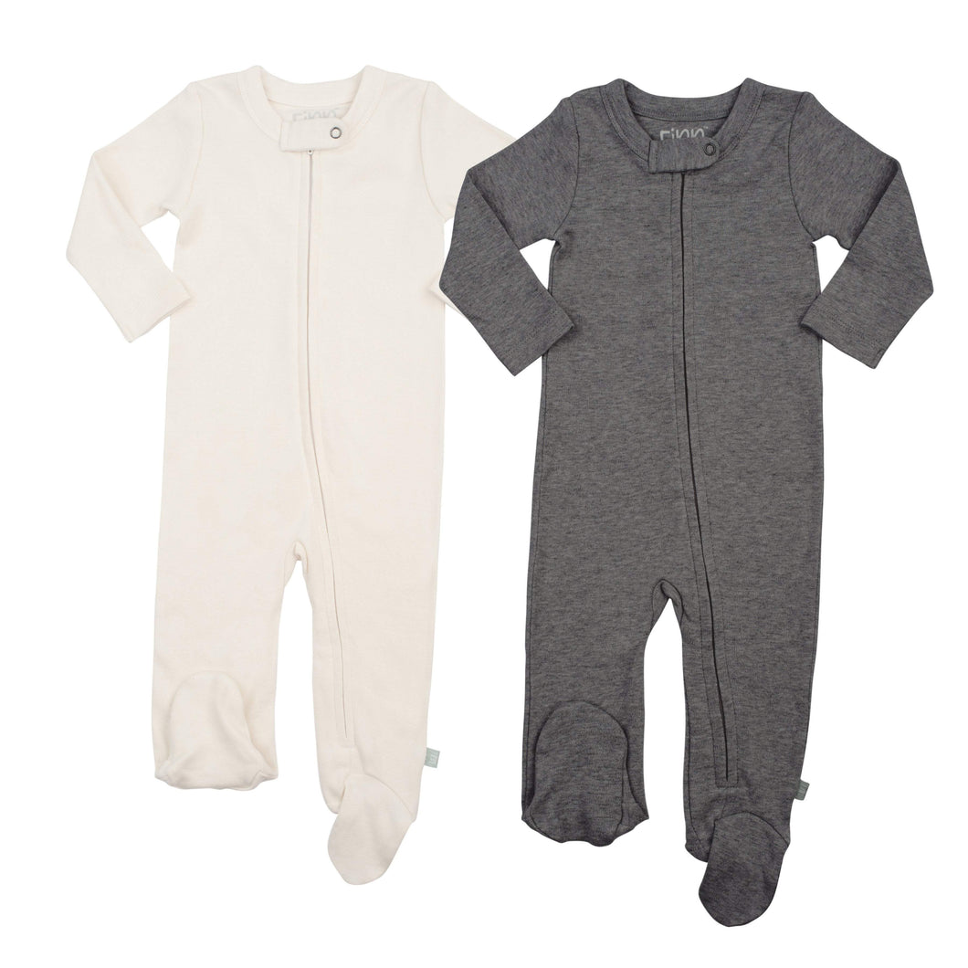 2 pc. zipper footie set | ivory & charcoal