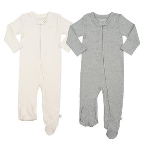 2 pc. zipper footie set | off-white & heather grey