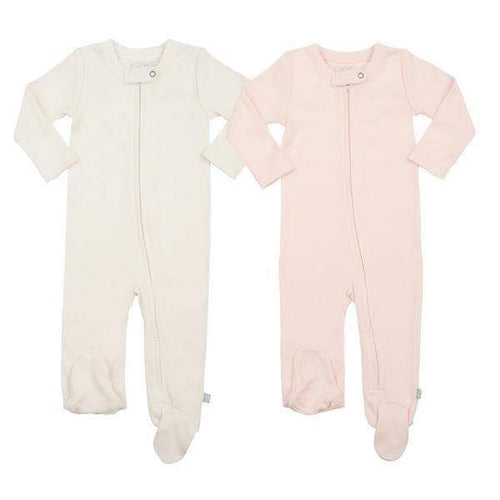 2 pc. zipper footie set | off white & pink