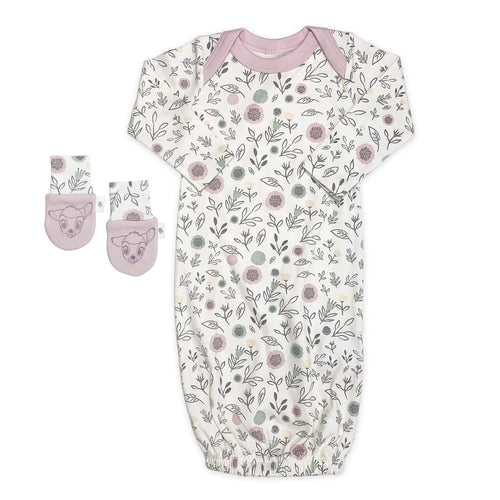 gown and mittens set | floral