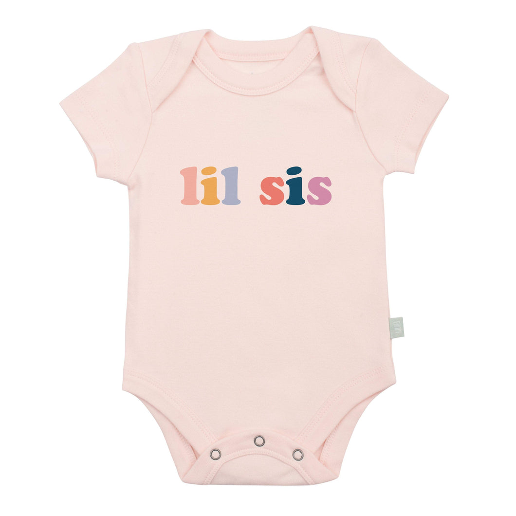 Baby graphic bodysuit | lil sis (pink) Finn + Emma