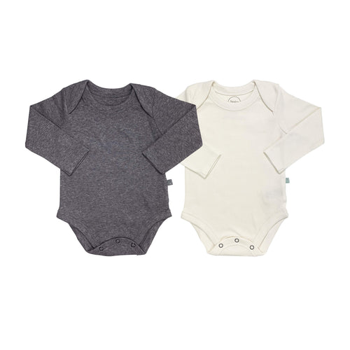 2 pc. long sleeve bodysuit set | ivory & charcoal