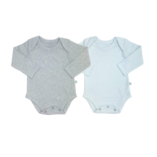 2 pc. long sleeve bodysuit set | heather & blue