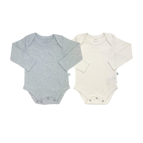 2 pc. long sleeve bodysuit set | ivory & heather