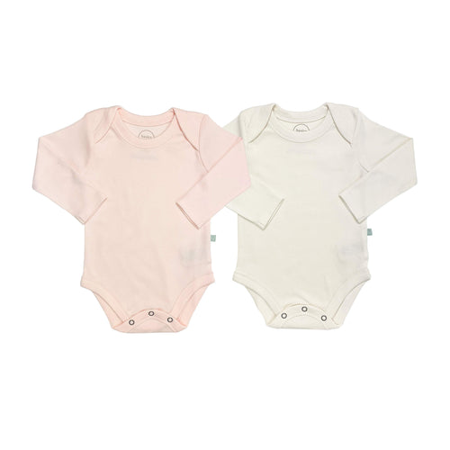 2 pc. long sleeve bodysuit set | ivory & pink