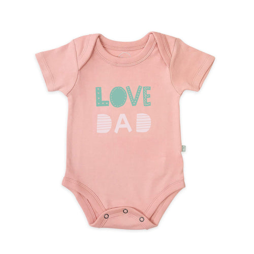 Baby graphic bodysuit | love dad pink finn + emma