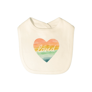 Baby graphic bib | loved rainbow heart finn + emma