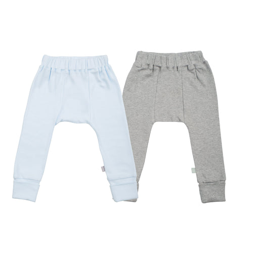 Baby 2 pc. pants set | light blue & heather grey finn + emma