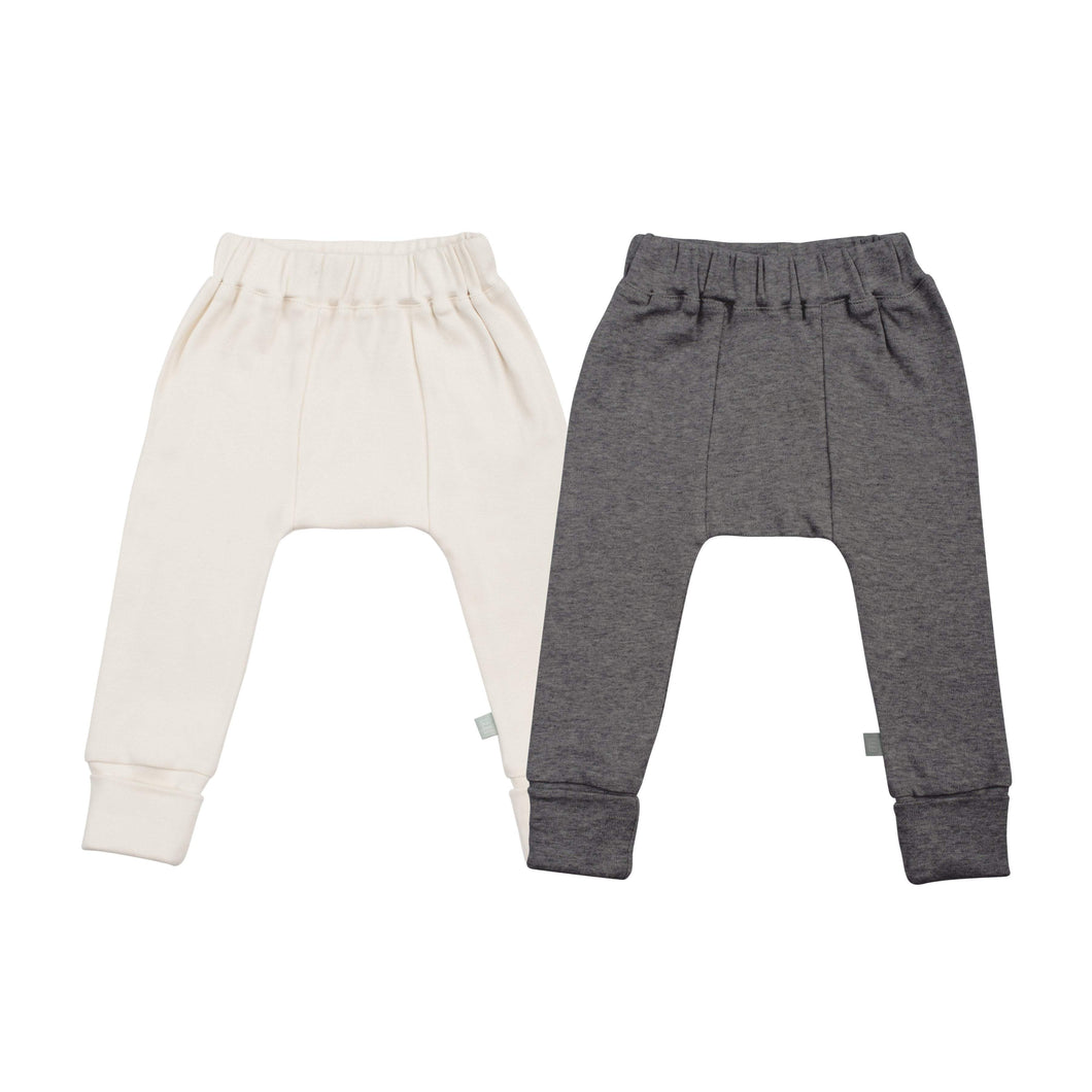 2 pc. pants set | ivory & charcoal