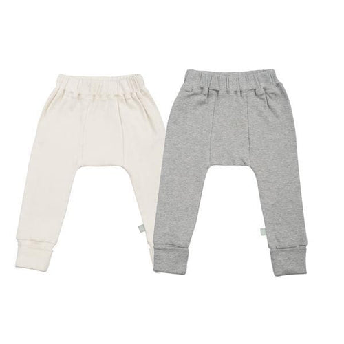 2 pc. pants set | ivory & heather grey