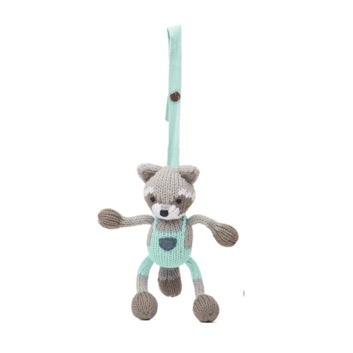 knit stroller toy | Ramsey the raccoon
