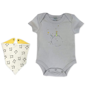 bodysuit & bib | grey & little prince
