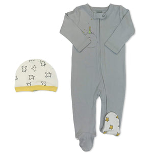 footie & hat | grey & little prince