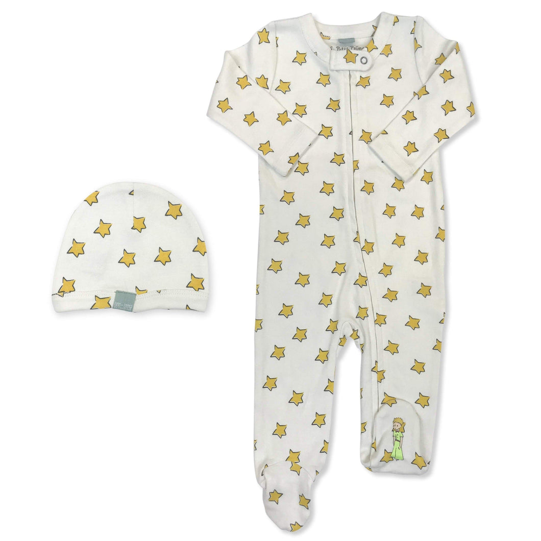 footie & hat | yellow stars & little prince