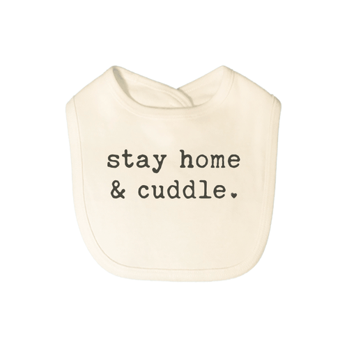 Baby graphic bib | stay home and cuddle finn + emma