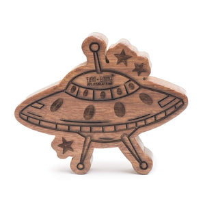 wood rattle teether [spaceship]