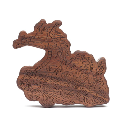 wood rattle teether [sea monster]