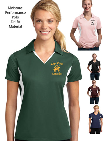 Cape Christian High School Ladies Performance Polo with White Trim