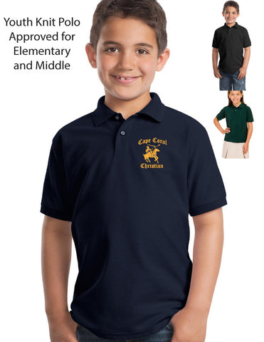 Cape Christian YOUTH embroidered knit polo