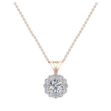 3/8 ct tw White Round Brilliant Diamond Halo Pendant 14K Gold (G,SI) - Rose Gold