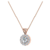 3/8 ct tw White Round Brilliant Diamond Halo Pendant 14K Gold (G,I1) - Rose Gold