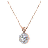 Halo Diamond necklaces for women 14K Gold Charms Round Cut Earth-mined Diamond Pendant (I, I1) - Rose Gold