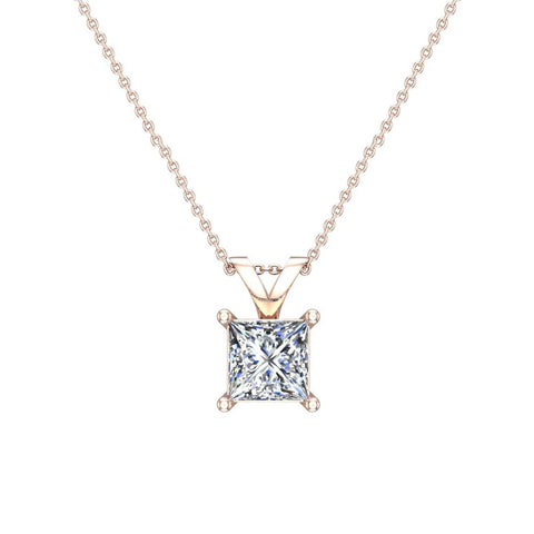 Princess cut diamond solitaire pendant necklace 14k gold g hi2 princess cut diamond solitaire pendant necklace 14k gold gi2 rose gold aloadofball Images