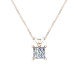 Princess Cut Diamond Pendant Necklace for women 14K Gold Chain (I, I1) - Rose Gold