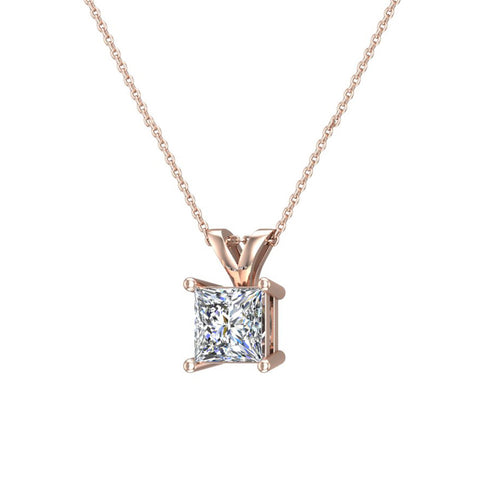 Princess cut diamond solitaire pendant necklace 14k gold g hi1 i2 princess cut diamond solitaire pendant necklace 14k gold gi1 rose gold aloadofball Images